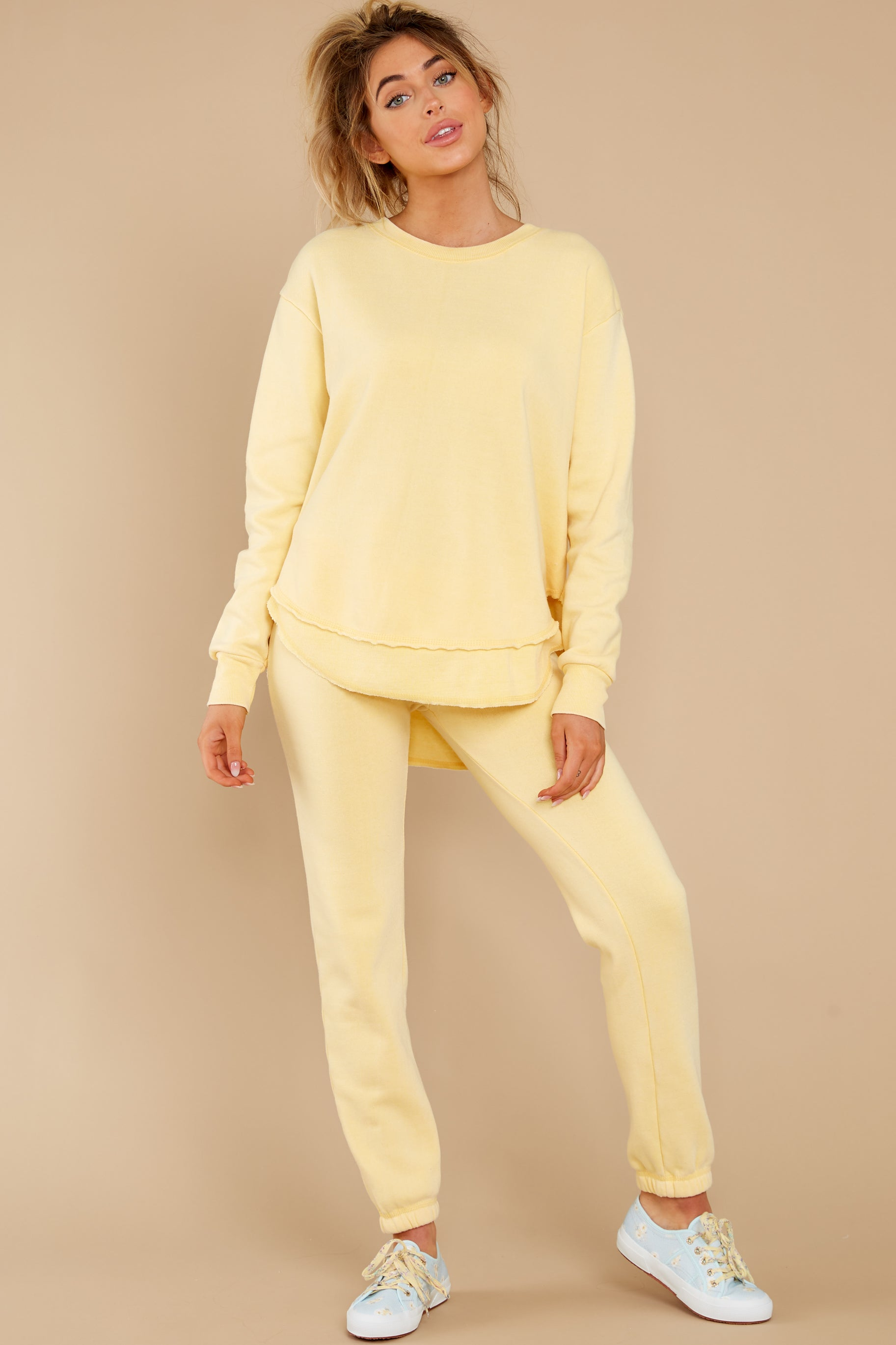 3 Divine Comfort Sunflower Yellow Pullover at reddress.com