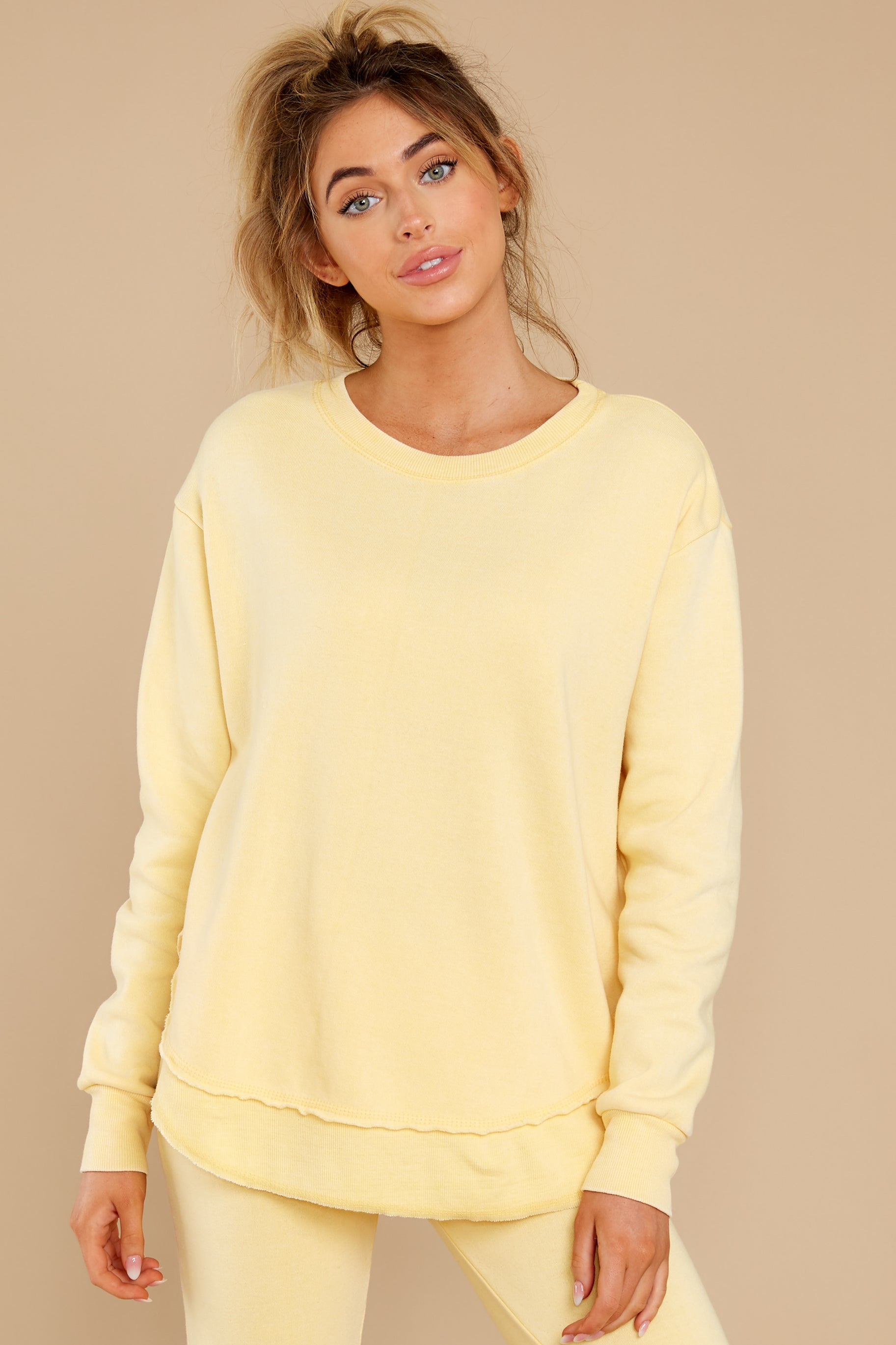 6 Divine Comfort Sunflower Yellow Pullover at reddress.com