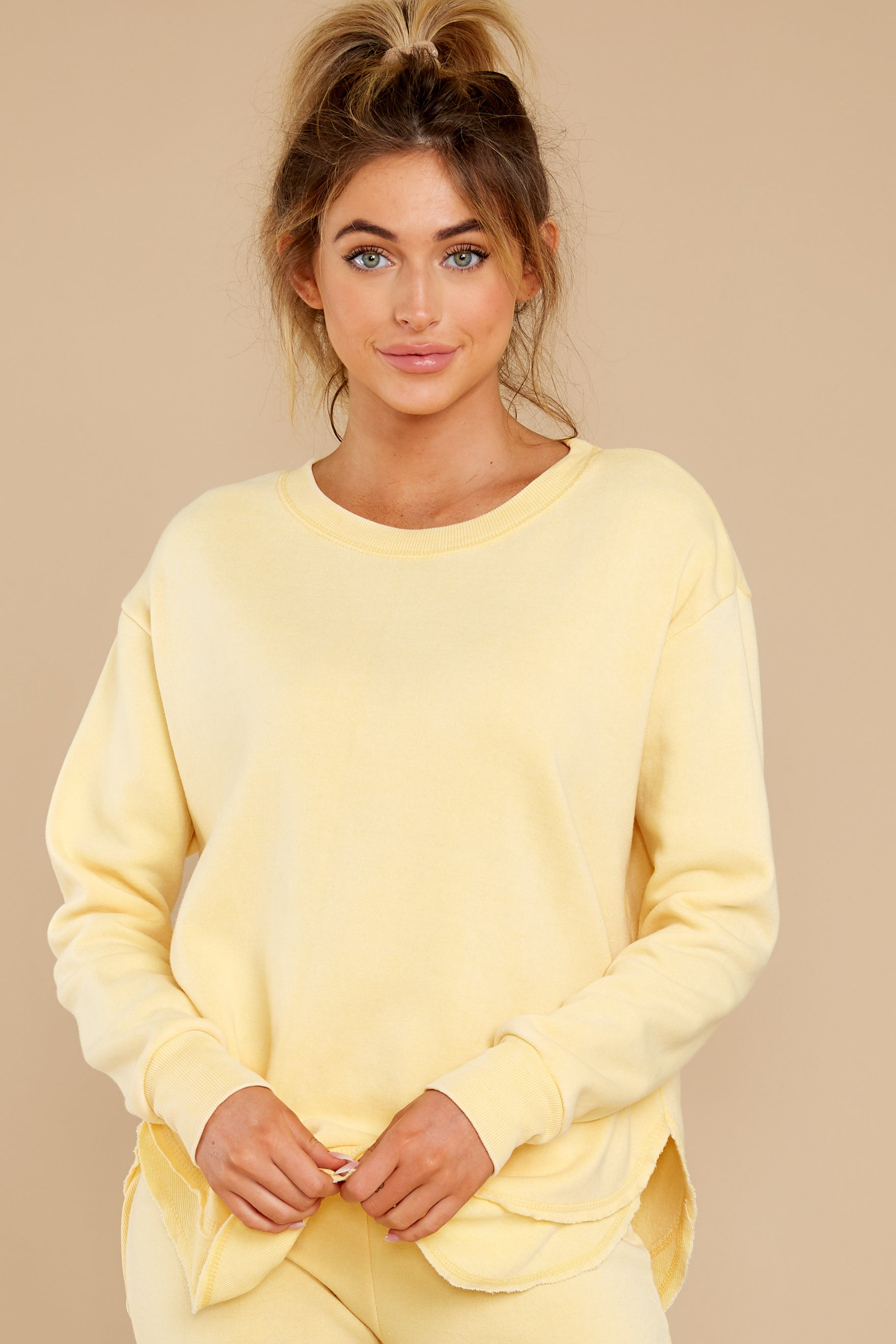 7 Divine Comfort Sunflower Yellow Pullover at reddress.com