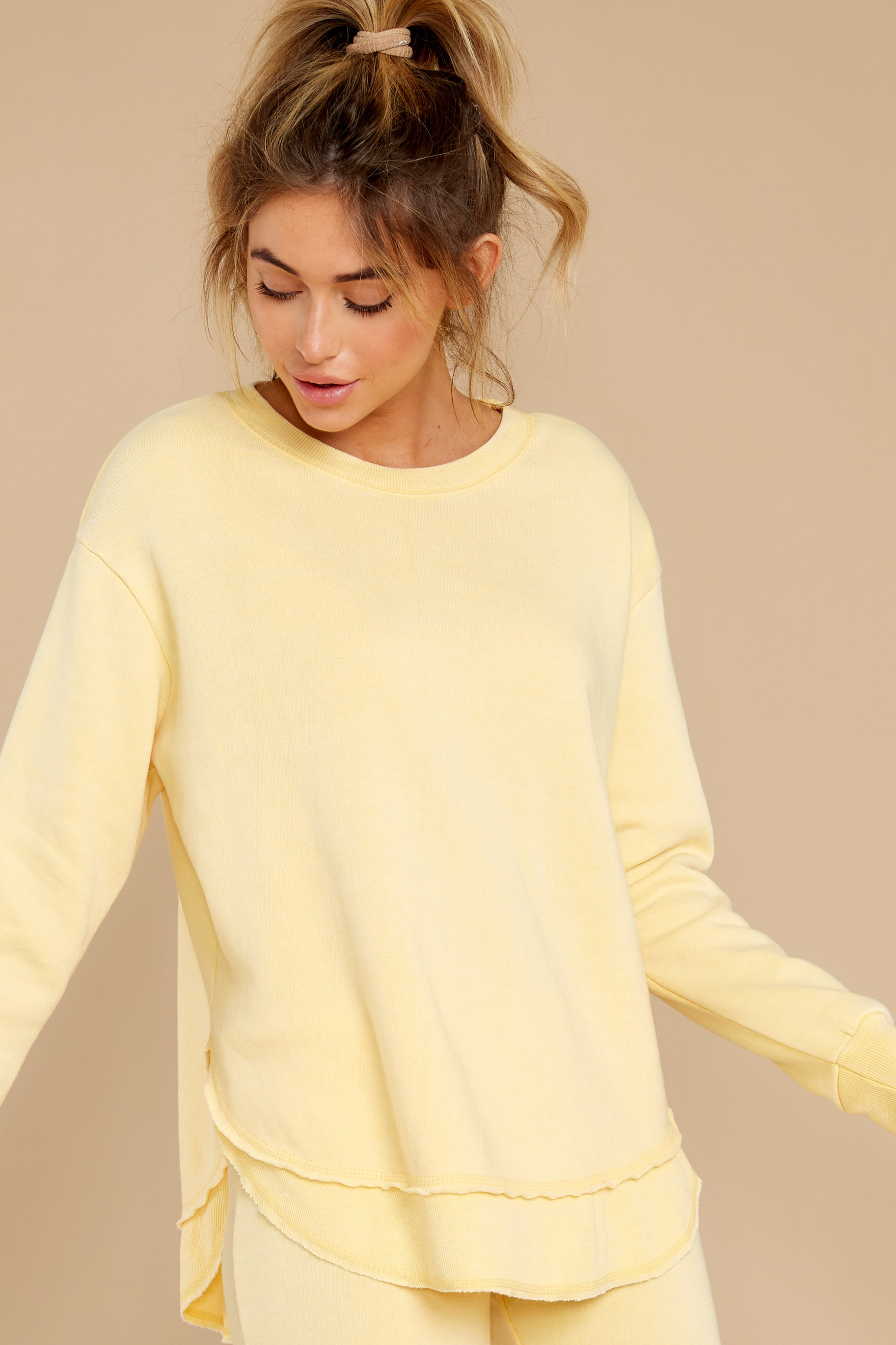 8 Divine Comfort Sunflower Yellow Pullover at reddress.com
