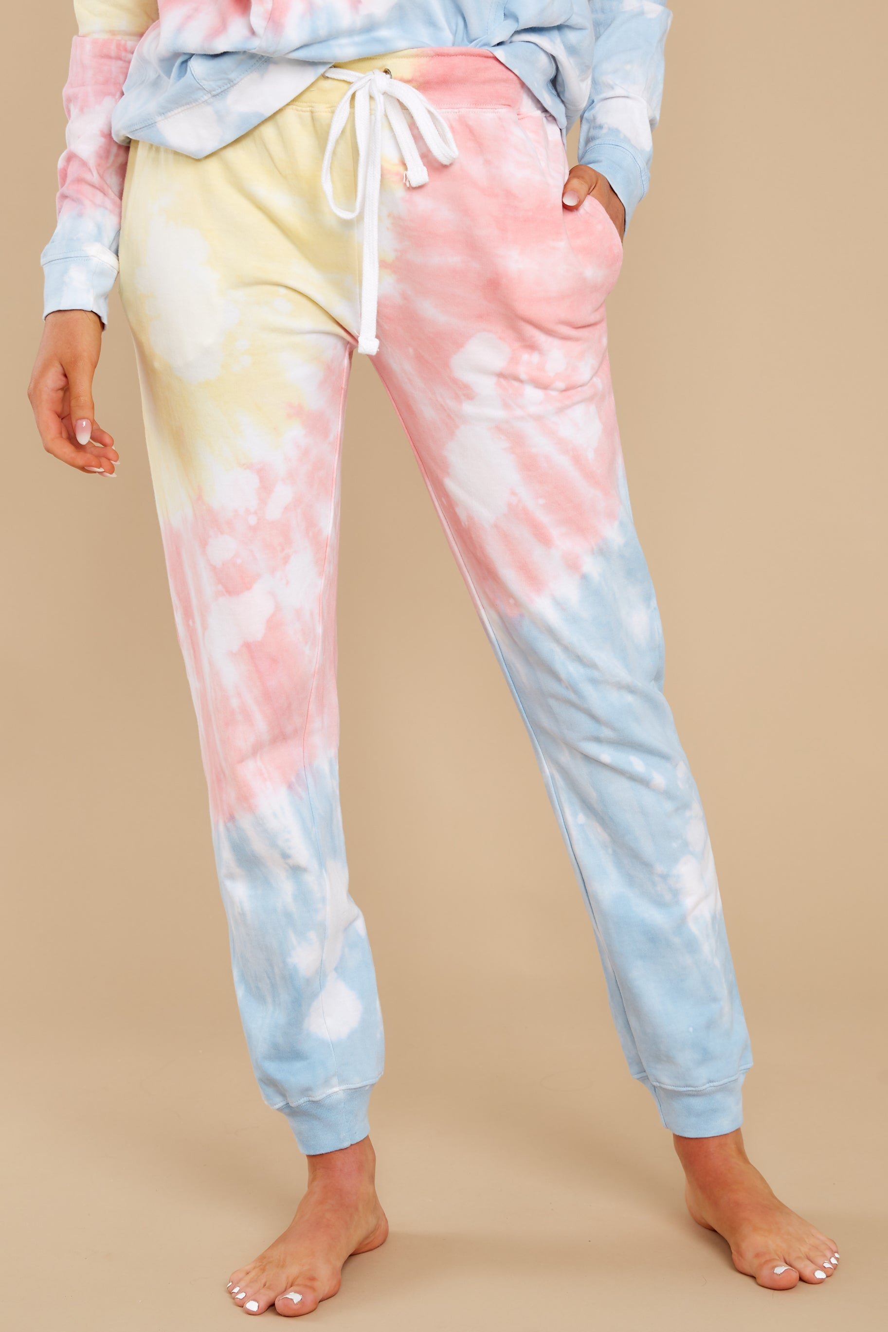 1980s Clothing, Fashion | 80s Style Clothes Totally Worth It Sky Blossom Tie Dye Jogger Pants Orange $28.00 AT vintagedancer.com