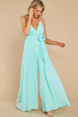 5 Collecting Moments Aqua Pleated Jumpsuit at reddress.com