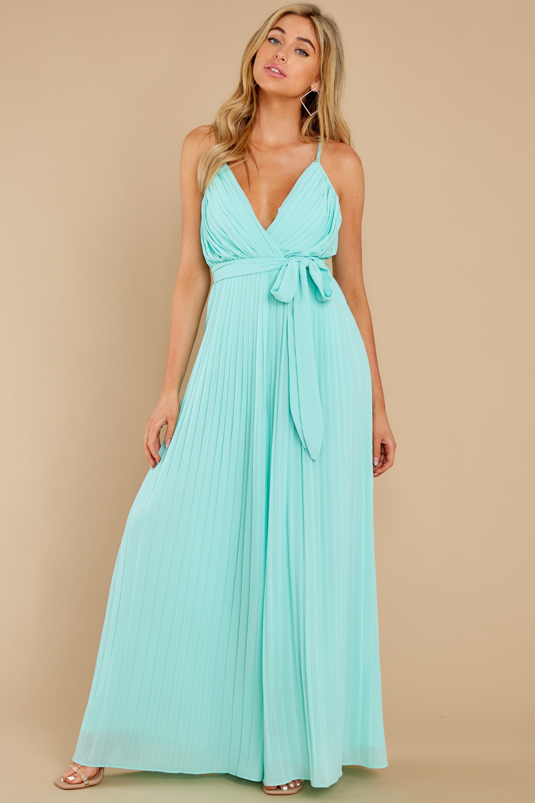 4 Collecting Moments Aqua Pleated Jumpsuit at reddress.com
