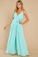 3 Collecting Moments Aqua Pleated Jumpsuit at reddress.com