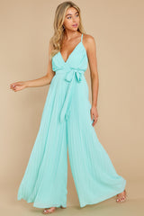 6 Collecting Moments Aqua Pleated Jumpsuit at reddress.com