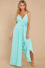 2 Collecting Moments Aqua Pleated Jumpsuit at reddress.com