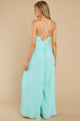 7 Collecting Moments Aqua Pleated Jumpsuit at reddress.com