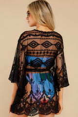 Sea For Yourself Black Lace Cover Up