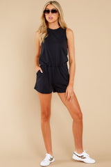 3 The Washed Black Adira Cotton Romper at reddress.com