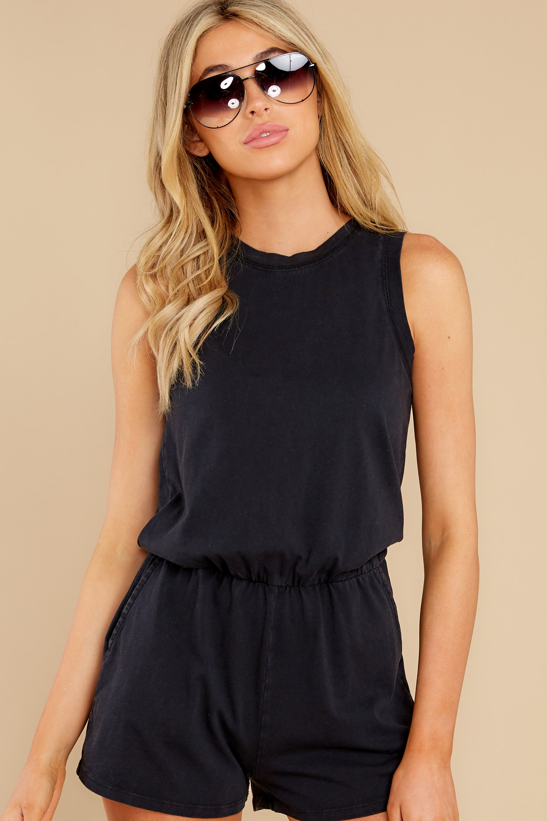 7 The Washed Black Adira Cotton Romper at reddress.com