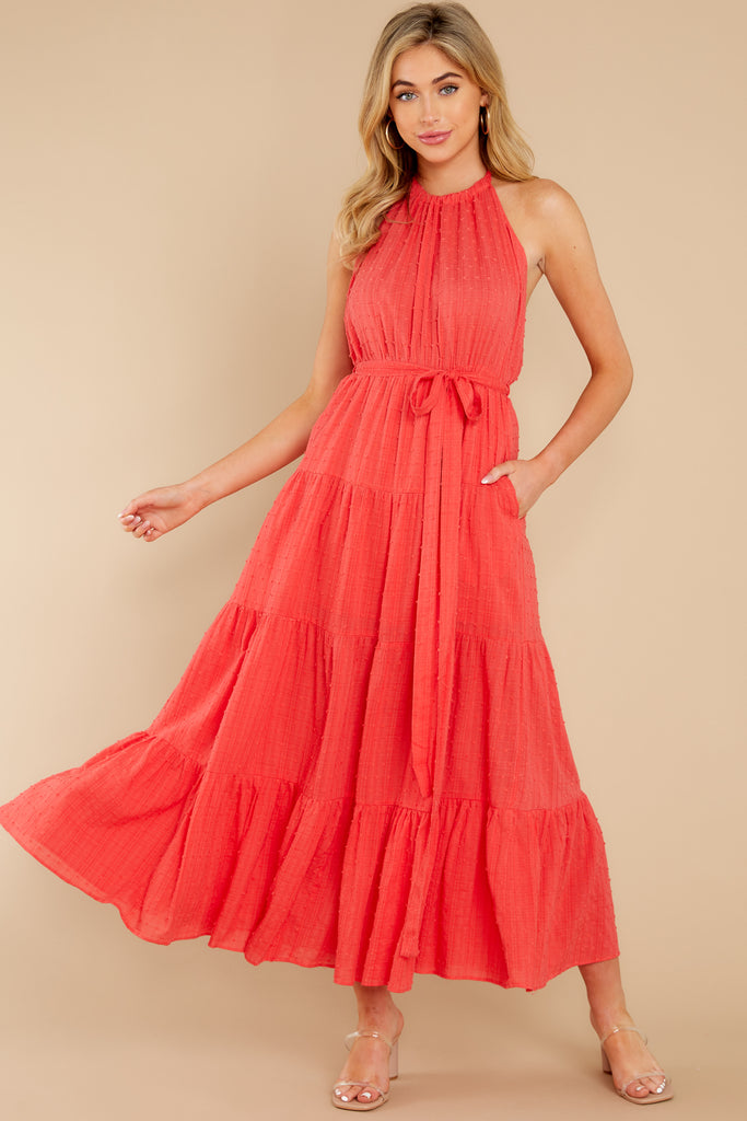 1 From Paris With Love Red Maxi Wrap Dress at reddress.com