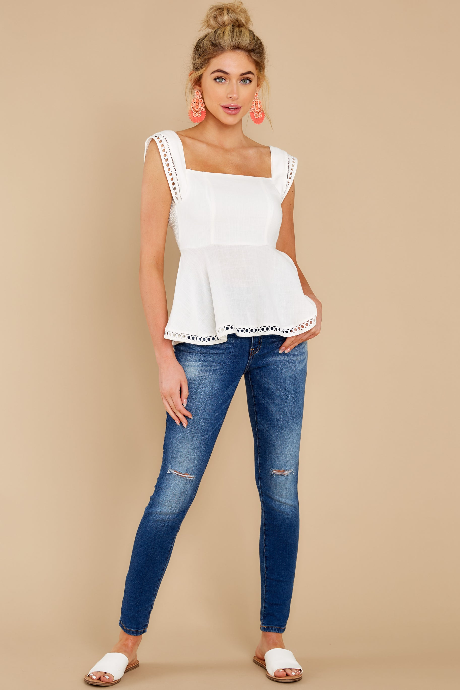 2 Looking Divine White Eyelet Top at reddress.com