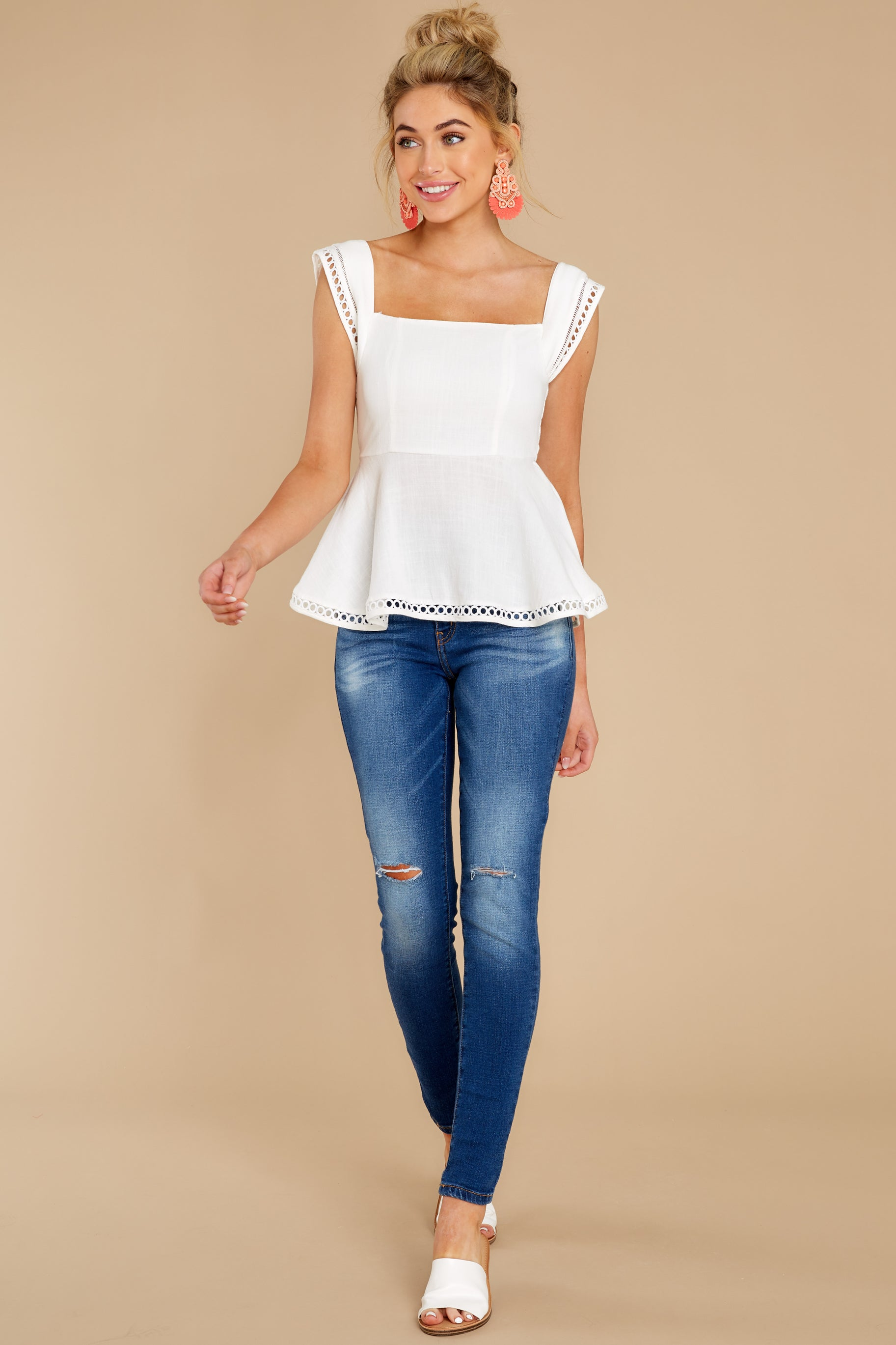 3 Looking Divine White Eyelet Top at reddress.com