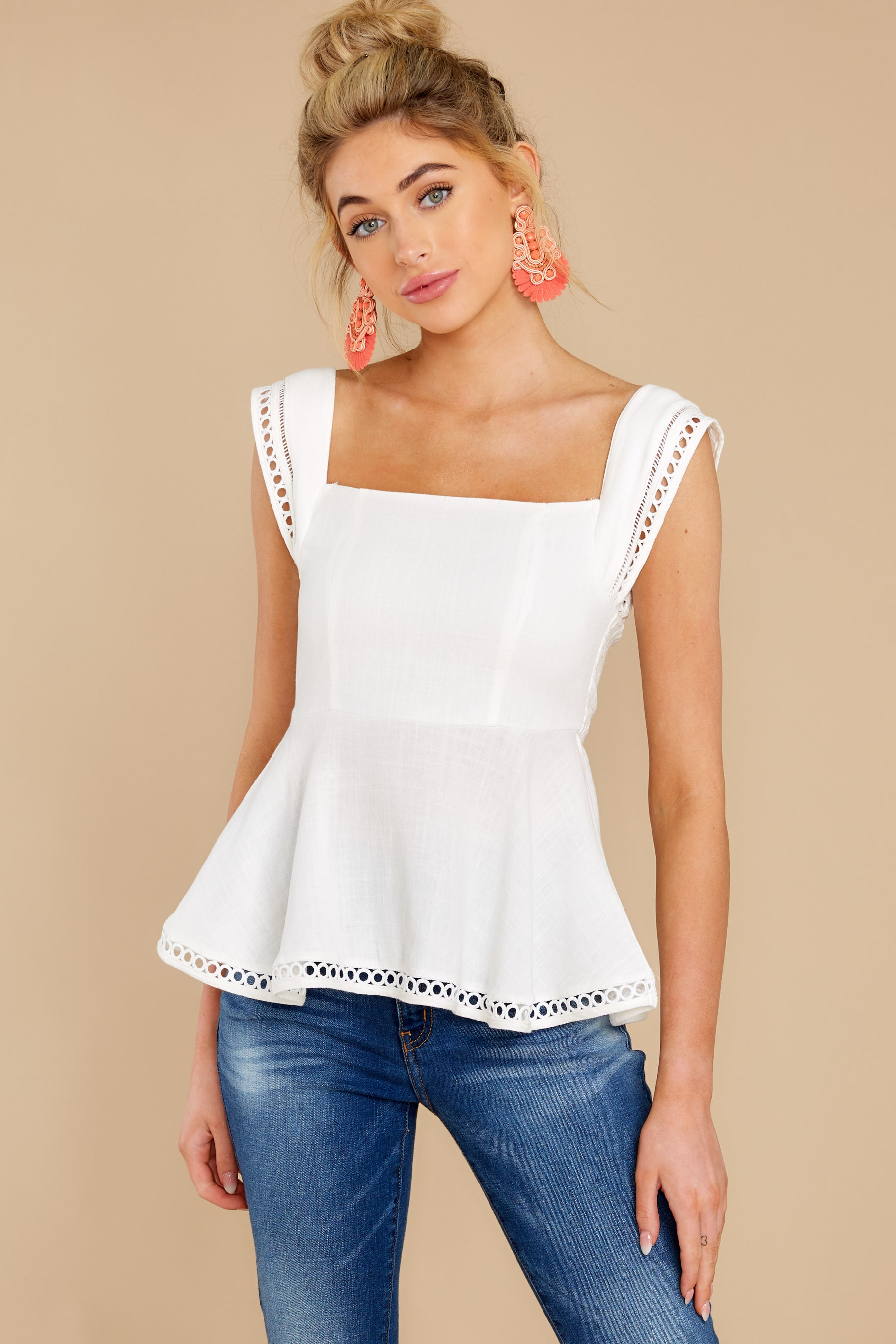 5 Looking Divine White Eyelet Top at reddress.com