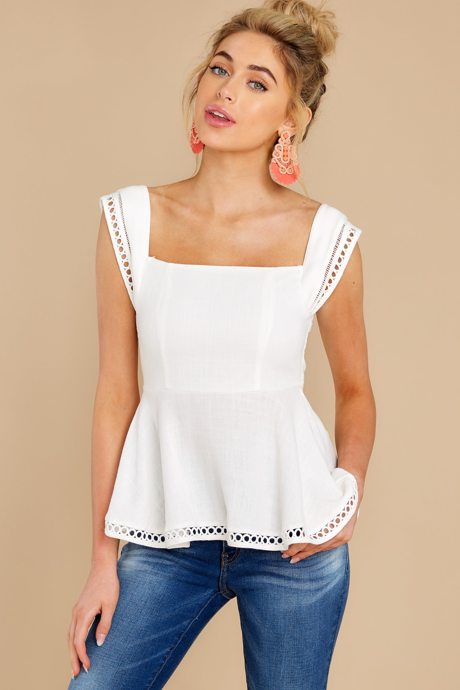 6 Looking Divine White Eyelet Top at reddress.com