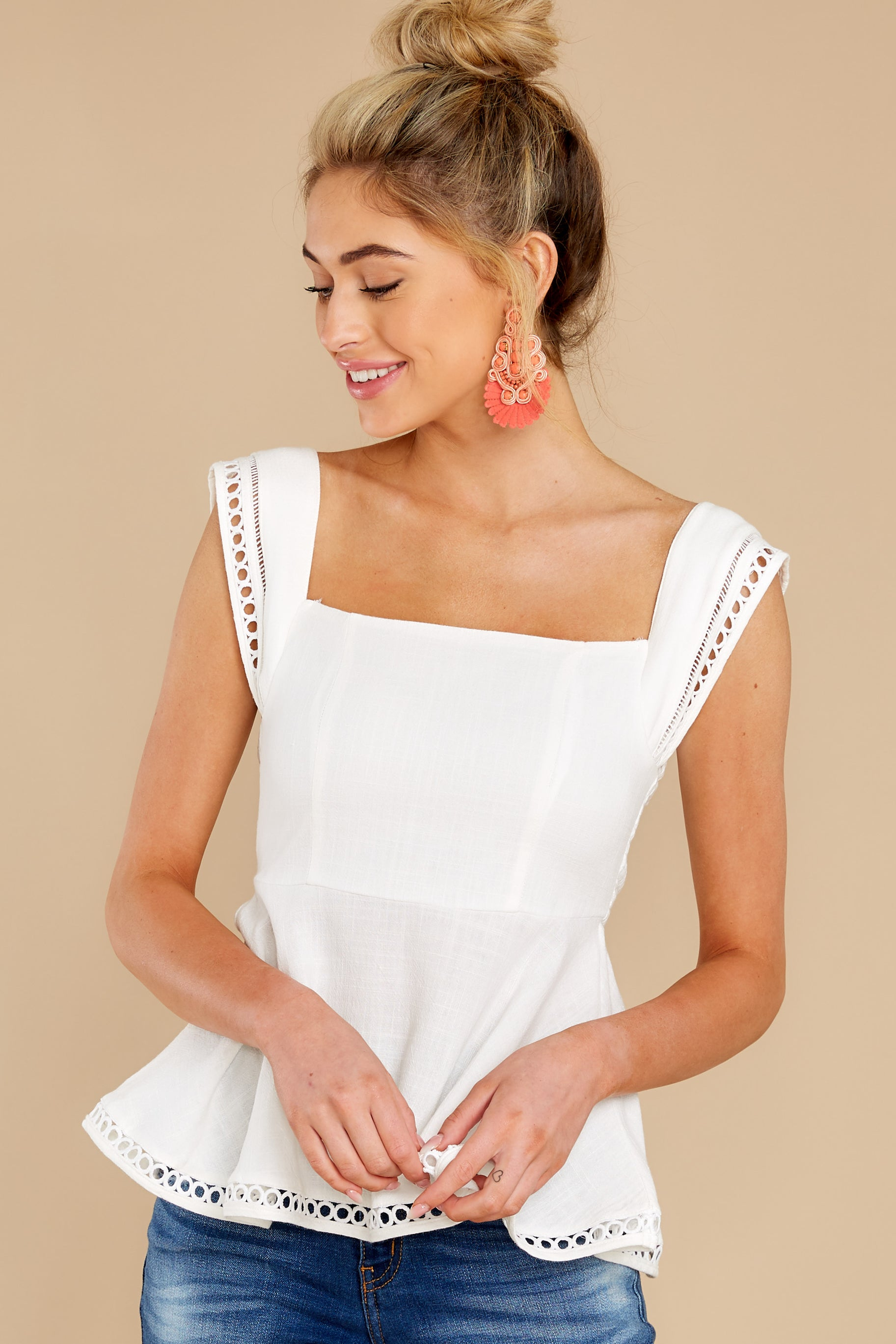 1 Looking Divine White Eyelet Top at reddress.com