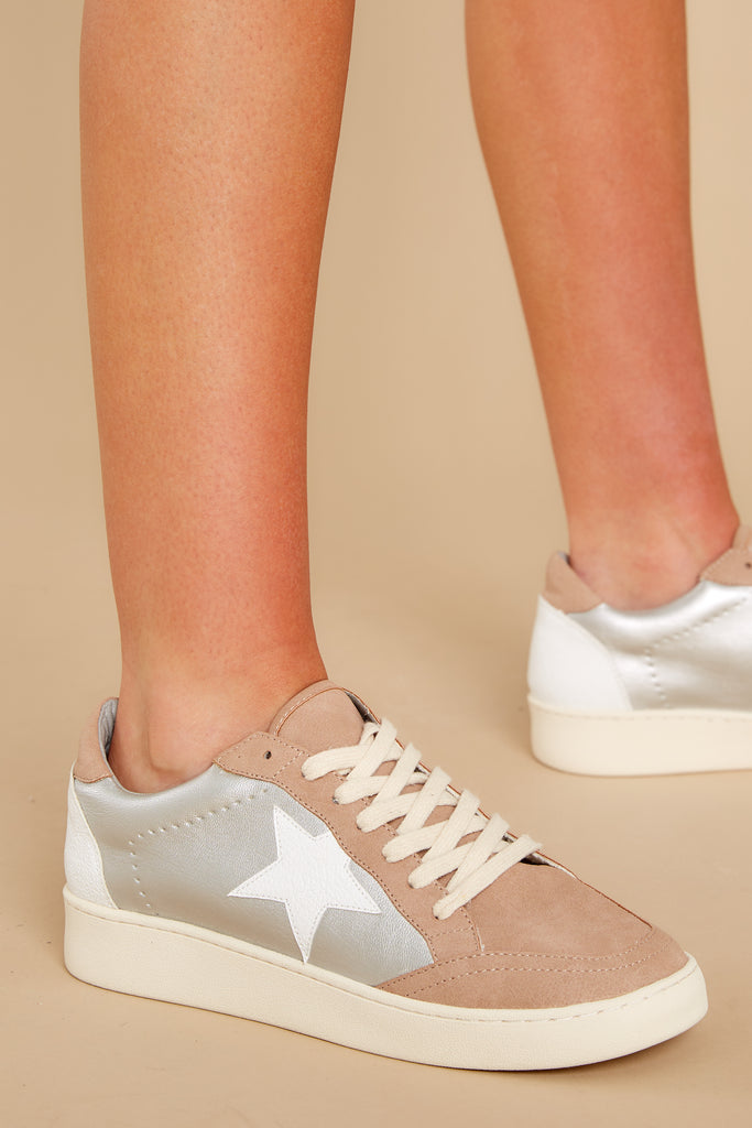 1 Jump Around White And Silver Mid-Top Sneakers at reddress.com
