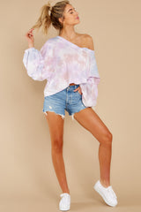 1 Feel Like Flying Lavender Multi Tie Dye Top at reddress.com