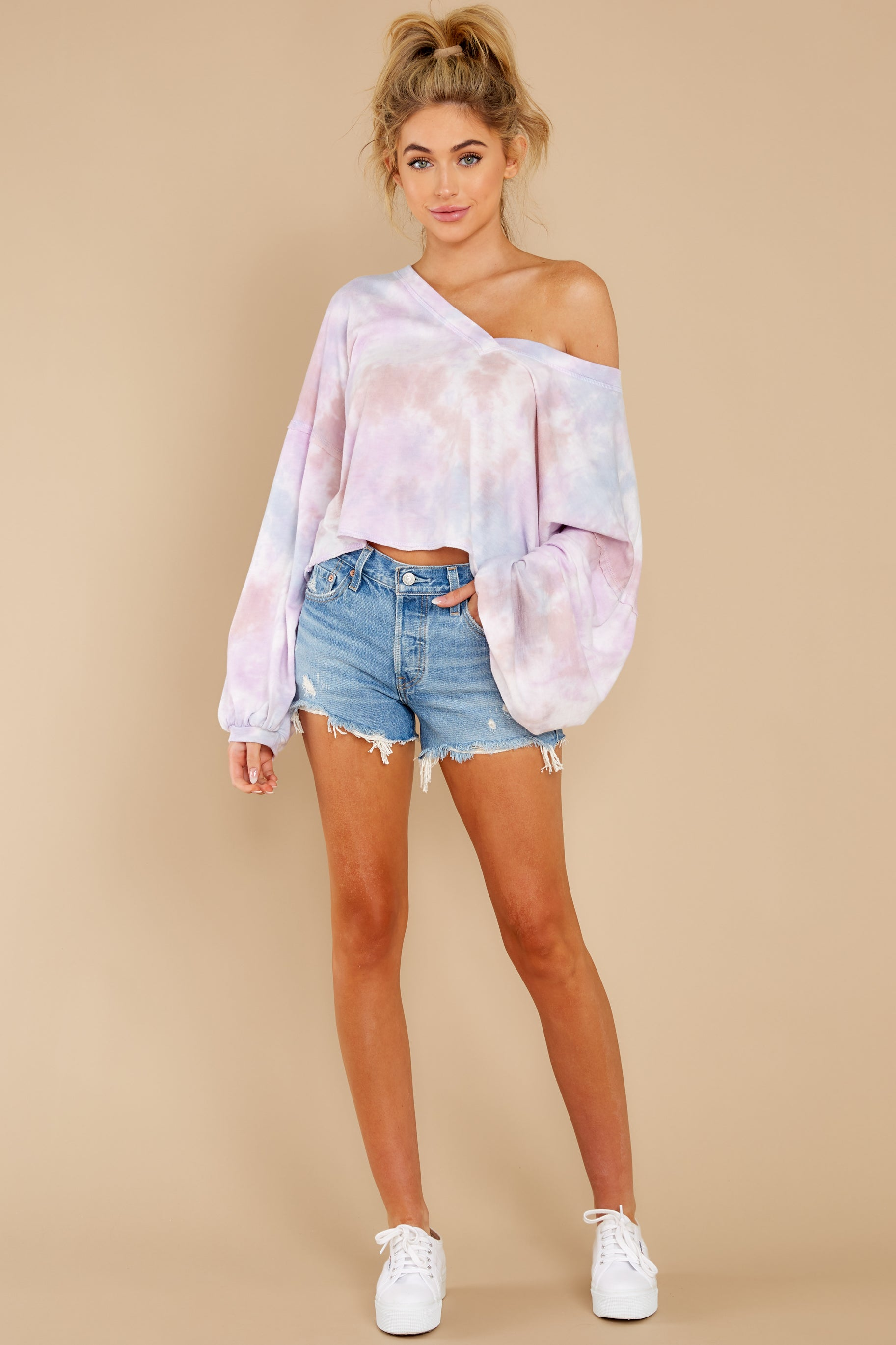 2 Feel Like Flying Lavender Multi Tie Dye Top at reddress.com