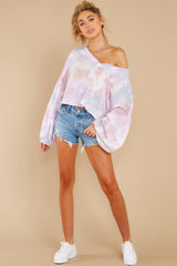 3 Feel Like Flying Lavender Multi Tie Dye Top at reddress.com