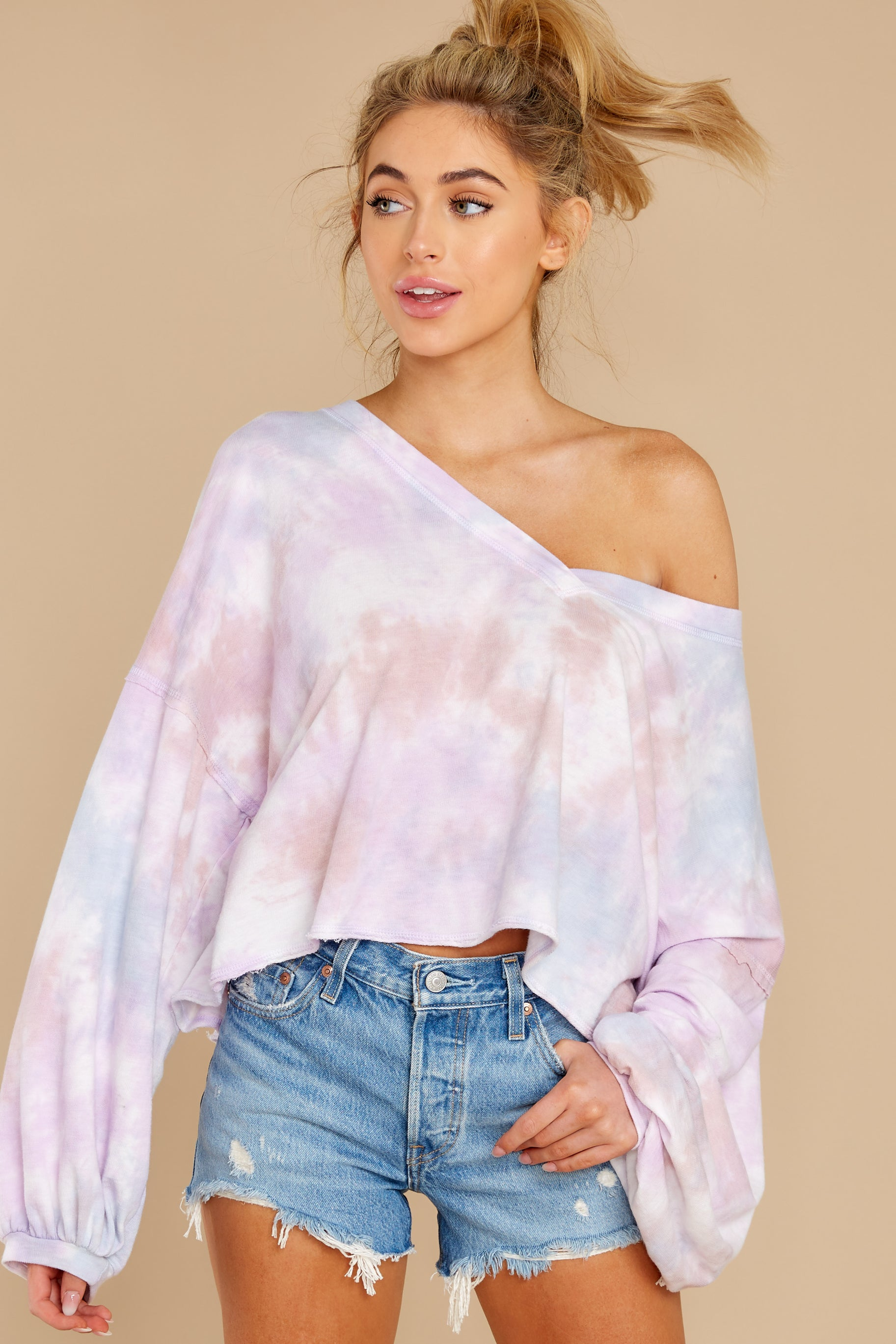 4 Feel Like Flying Lavender Multi Tie Dye Top at reddress.com