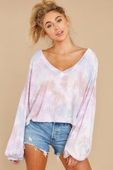 7 Feel Like Flying Lavender Multi Tie Dye Top at reddress.com