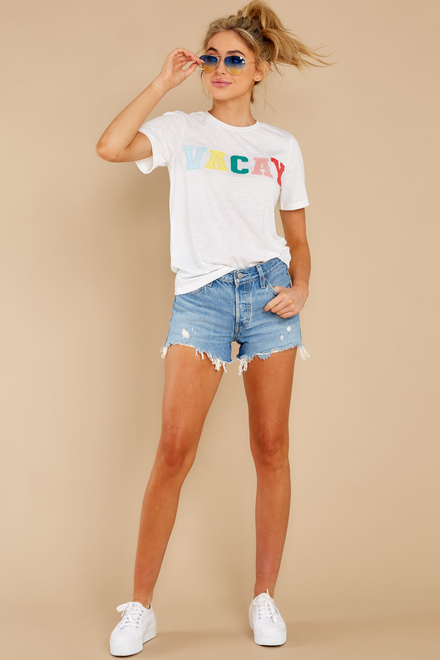 3 Cancun Is Calling White Multi Embroidered Tee at reddress.com