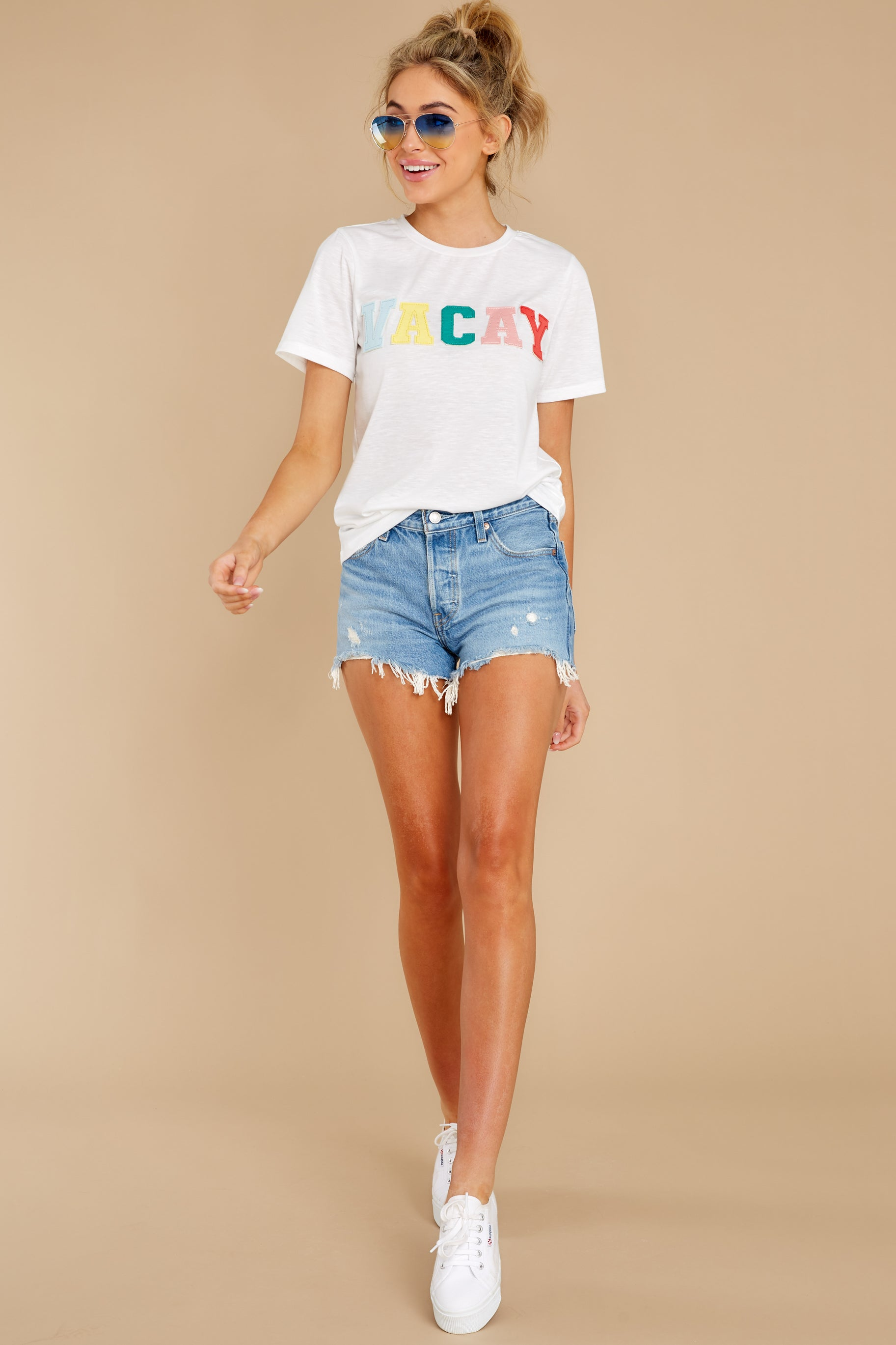 4 Cancun Is Calling White Multi Embroidered Tee at reddress.com