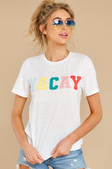 7 Cancun Is Calling White Multi Embroidered Tee at reddress.com