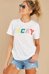 8 Cancun Is Calling White Multi Embroidered Tee at reddress.com