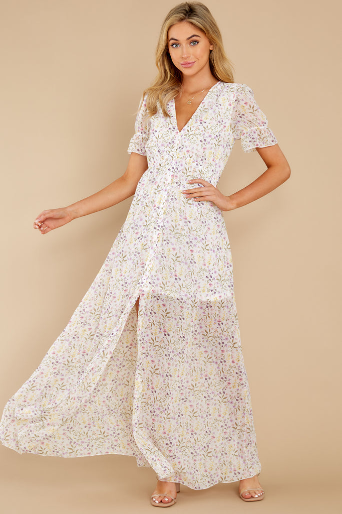 1 Love You More Blush Floral Print Maxi Dress at reddress.com