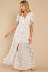 2 Work Of Art White Floral Print Maxi Dress at reddress.com