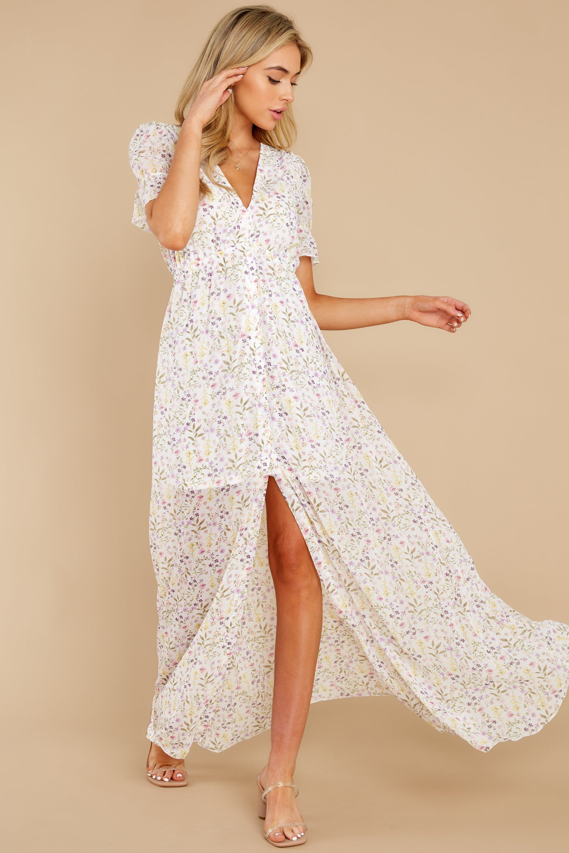 3 Work Of Art White Floral Print Maxi Dress at reddress.com