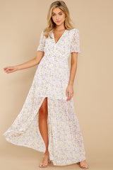 5 Work Of Art White Floral Print Maxi Dress at reddress.com