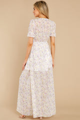 7 Work Of Art White Floral Print Maxi Dress at reddress.com