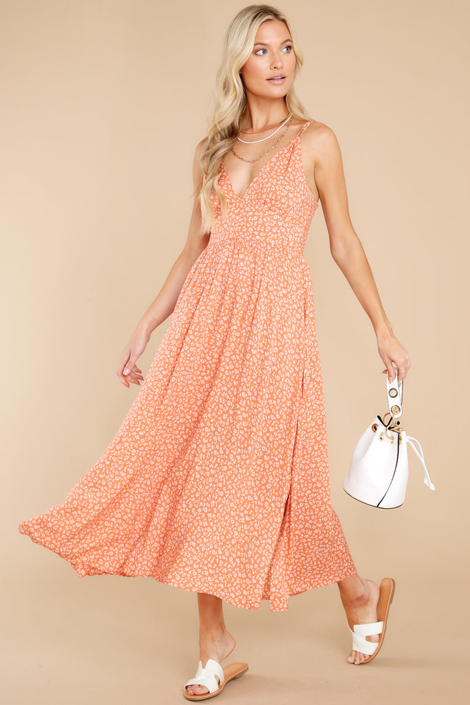 Graceful Strolls Apricot Orange Floral Print Maxi Dress 1 at reddress.com