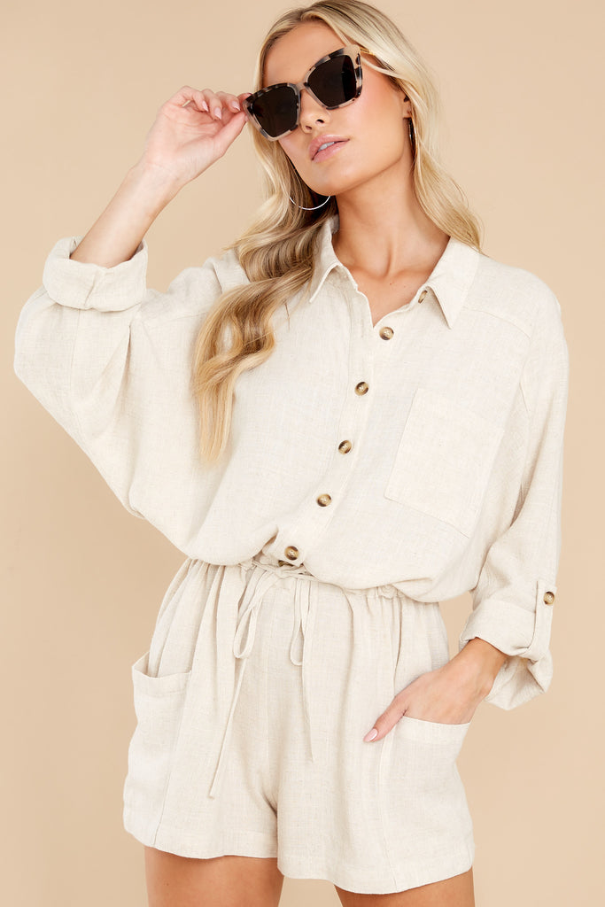 1 Happy Chance Beige Romper at reddress.com