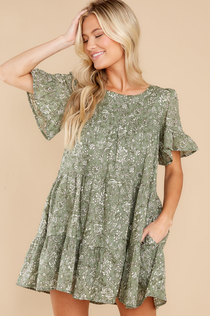 1 Meadow Views Sage Green Floral Print Dress at reddress.com