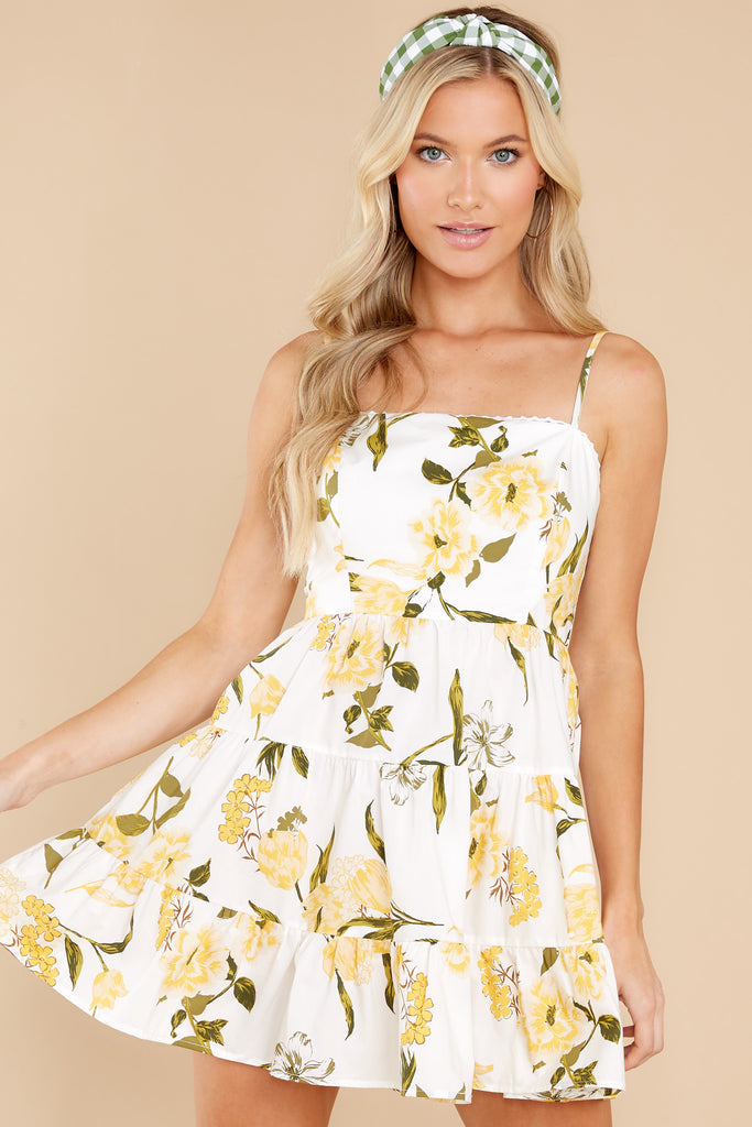 1 Call Me Cute Yellow Floral Print Dress at reddress.com
