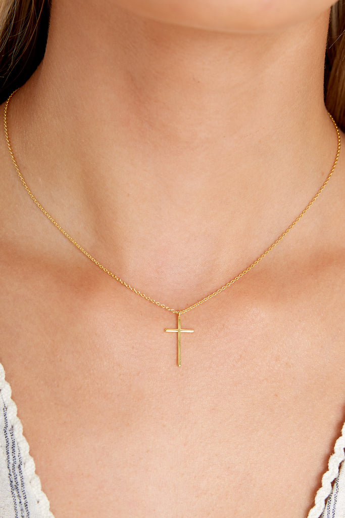 All That's Right Gold Cross Necklace