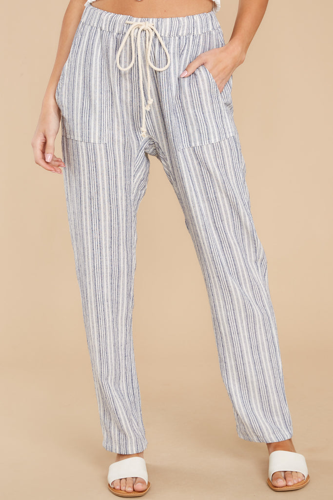 Row Along Navy And Ivory Stripe Pants 1 at reddress.com