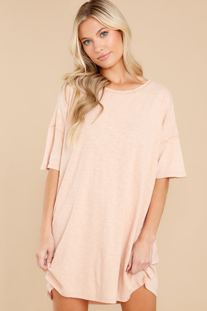 Delta Slub Soft Peach T-Shirt Dress 1 at reddress.com