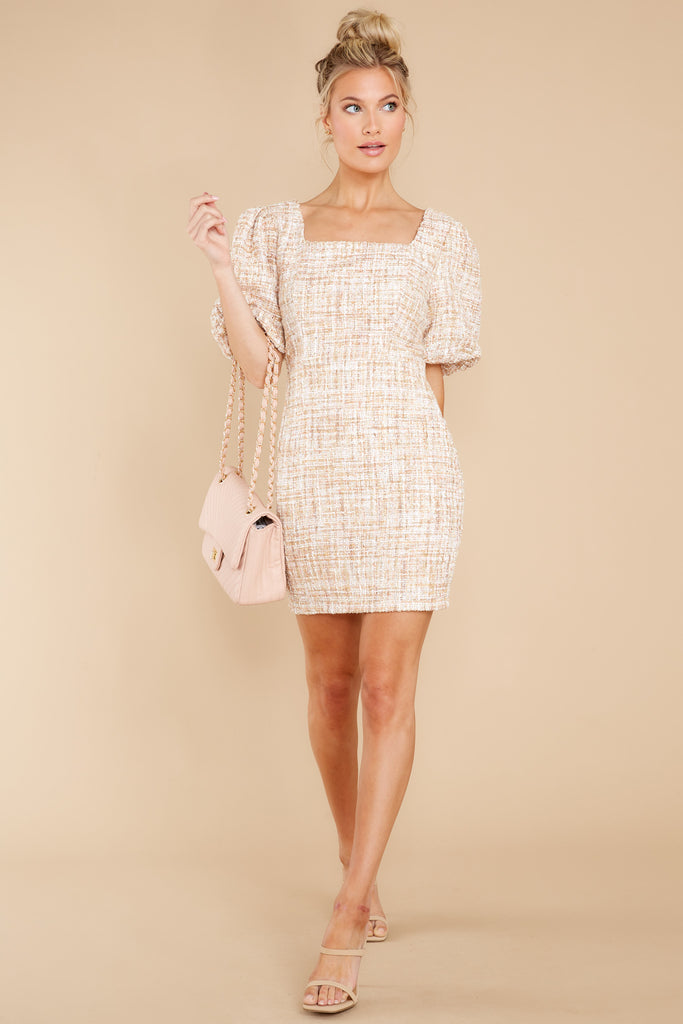 Upper East Side Beige Multi Tweed Dress 1 at reddress.com