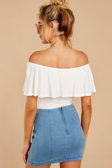 7 Reflection Of Perfection White Off The Shoulder Bodysuit at reddressboutique.com