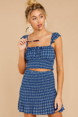 5 Fly Away Tonight Blue Print Two Piece Set at reddressboutique.com