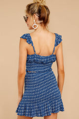 7 Fly Away Tonight Blue Print Two Piece Set at reddressboutique.com