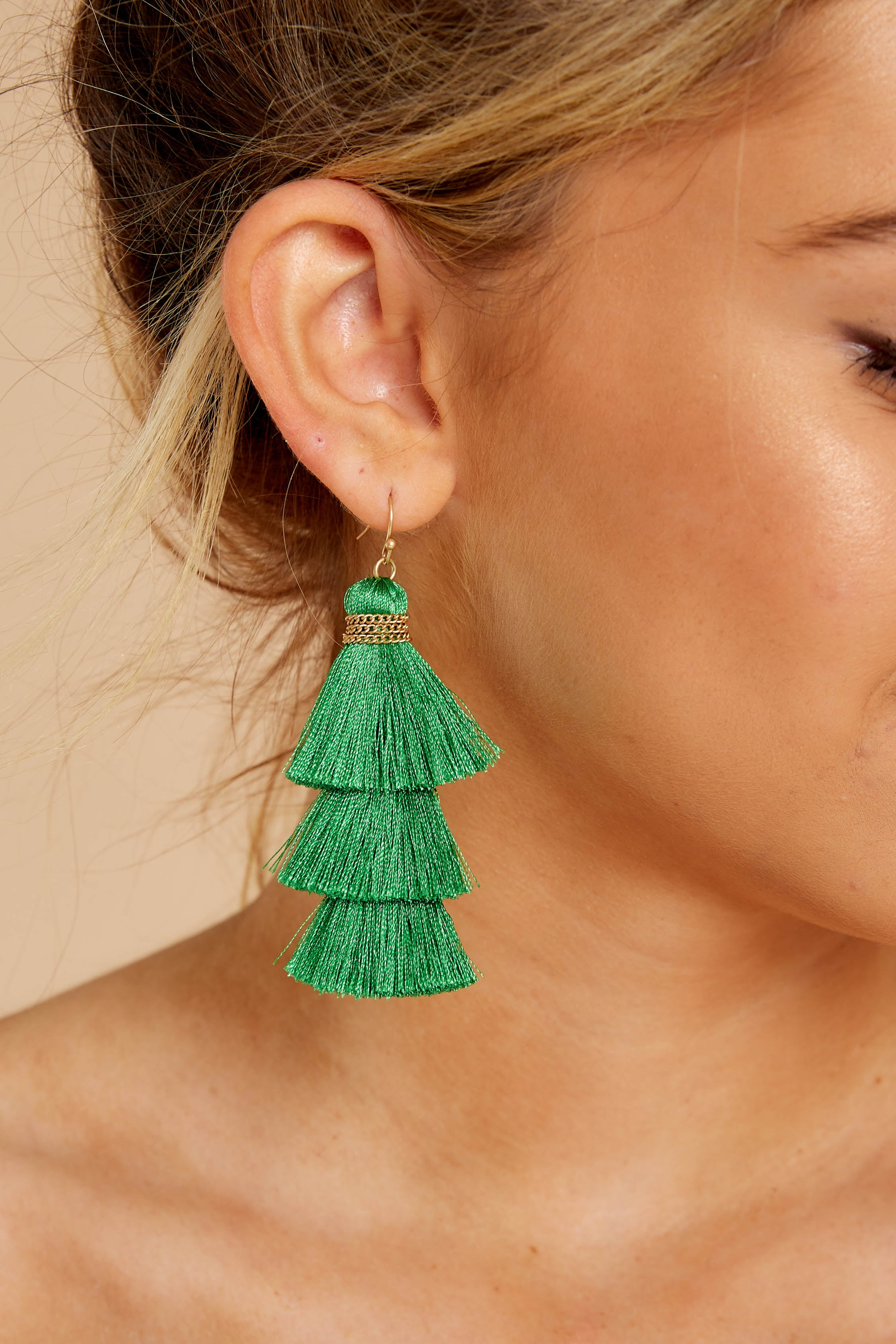 1 The Last Moment Kelly Green Tassel Earrings at reddressboutique.com