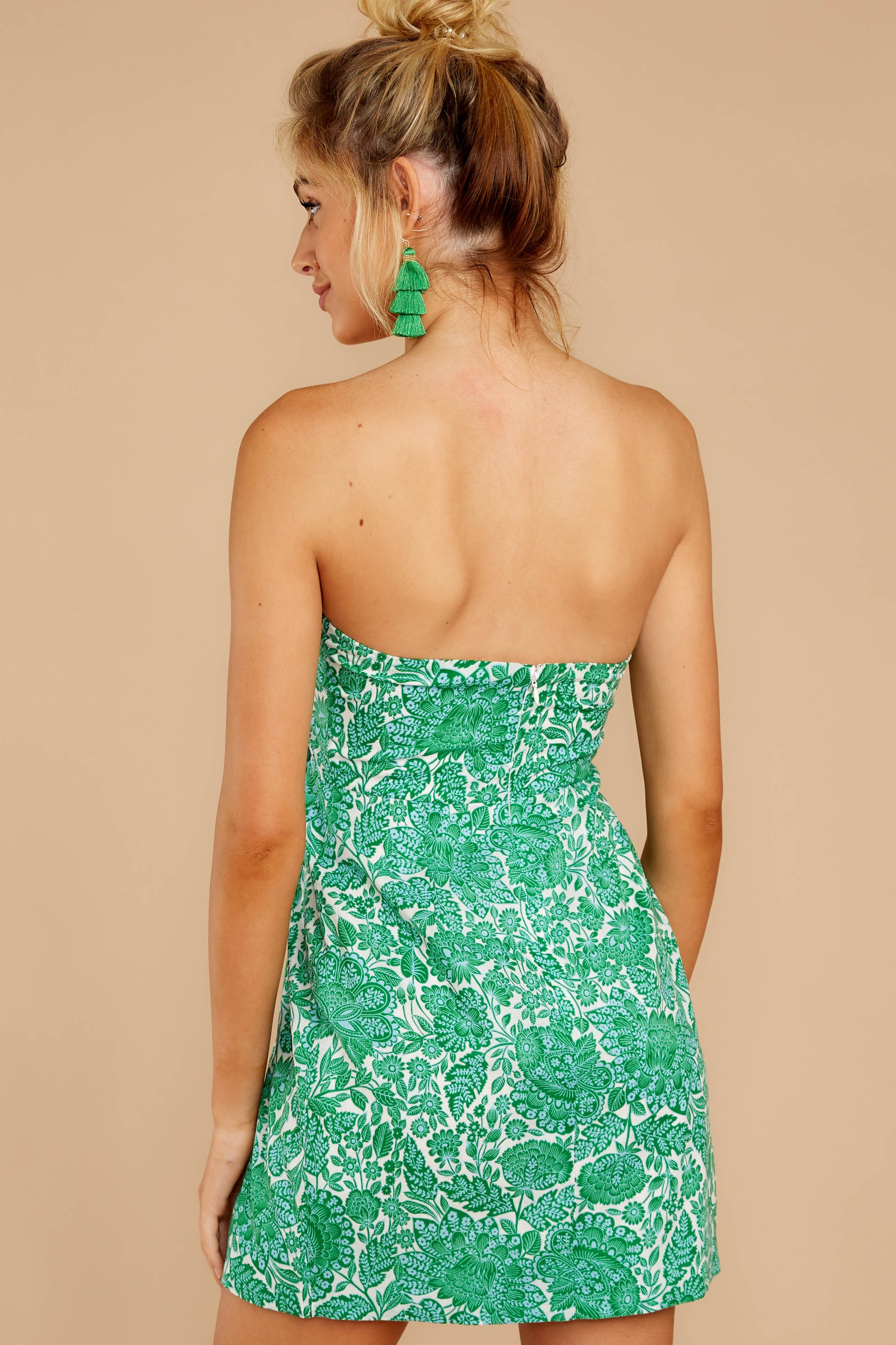 The Truth Is Kelly Green Floral Print Mini Dress