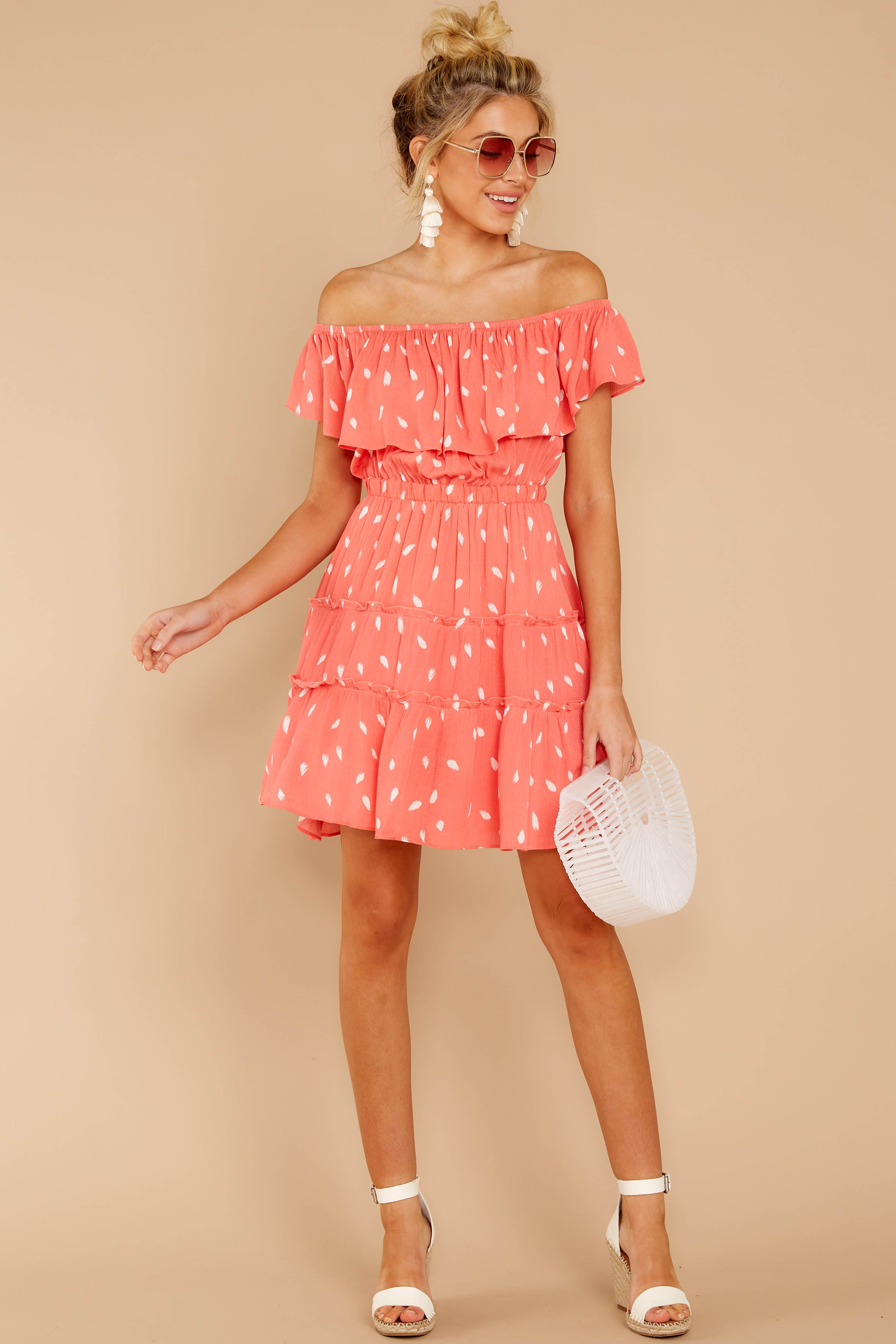 3 Welcome To Happy Coral Print Dress at reddressboutique.com