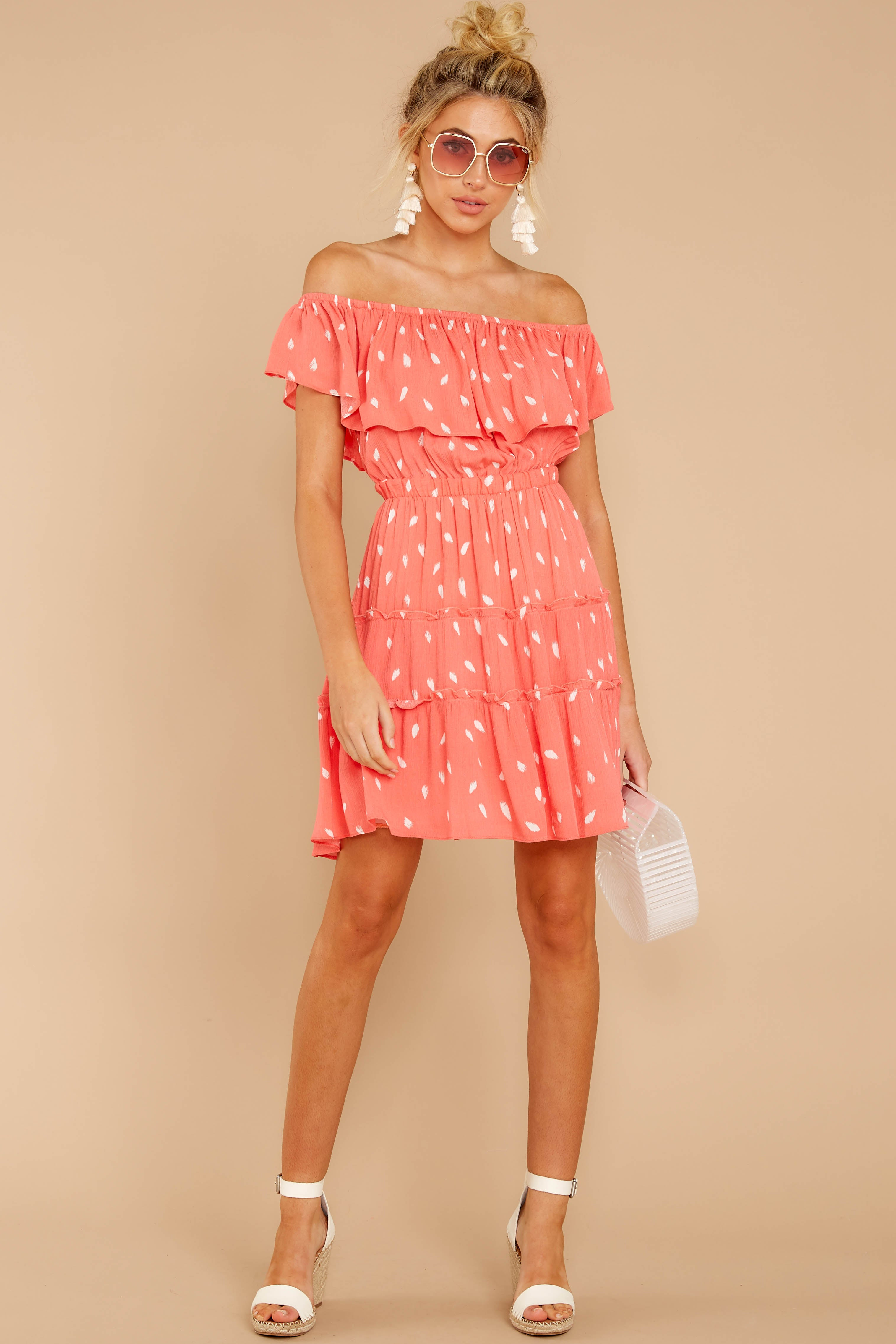 4 Welcome To Happy Coral Print Dress at reddressboutique.com